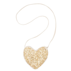 SEQUIN HEART BAG GOLD